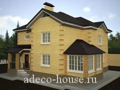 Проект  коттеджа с двумя этажами для семьи из 6-8 человек